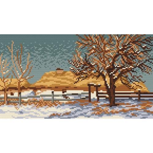 Wzór graficzny - Pejzaż zimowy - J. Stanisławski