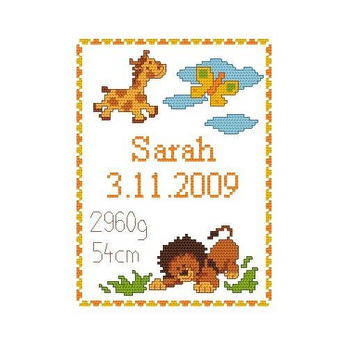 Wzór graficzny - Moje narodziny- Dzikie zwierzątka