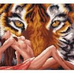 Wzór graficzny - Akt z tygrysem