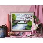 Wzór graficzny - Most z kwitnącym drzewem