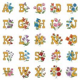 Wzór graficzny - Alfabet z kwiatami