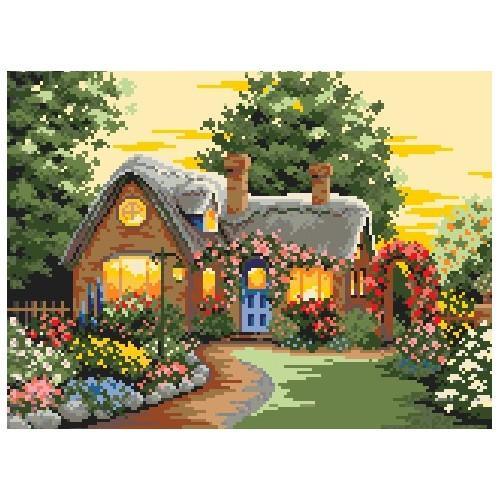 Wzór graficzny - Domek w kwiatach