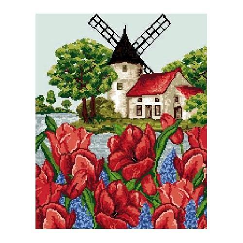 Wzór graficzny - Pejzaż z tulipanami