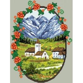 GC 6085 Wzór graficzny - Wioska w górach
