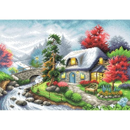 Wzór graficzny - Domek nad rzeką