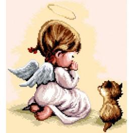 GC 7177 Wzór graficzny - Modlitwa - Dziewczynka z kotkiem
