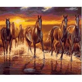 GC 7265 Wzór graficzny - Zachód słońca - konie