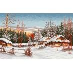 GC 744 Wzór graficzny - Chaty zimą