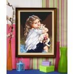 Wzór graficzny - Dziewczynka z kotkiem