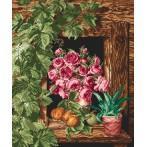 Wzór graficzny - Róże w oknie
