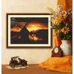 Wzór graficzny - Zachód słońca z wiatrakiem