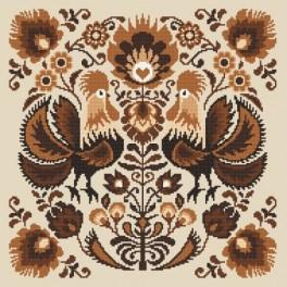 Wzór graficzny - Łowickie koguty w brązie
