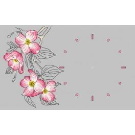 Wzór graficzny - Zegar z gałązką derenia - Haft krzyżykowy