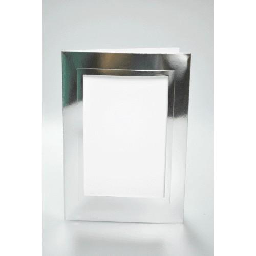 Duża kartka z prostokątnym psp srebrna