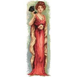 4544 Kanwa z nadrukiem - Kobieta z wachlarzem