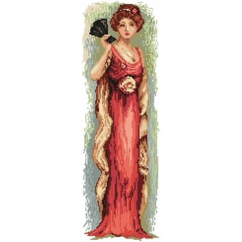 Kanwa z nadrukiem - Kobieta z wachlarzem