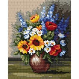 Kanwa z nadrukiem - B. Sikora - Polne kwiaty