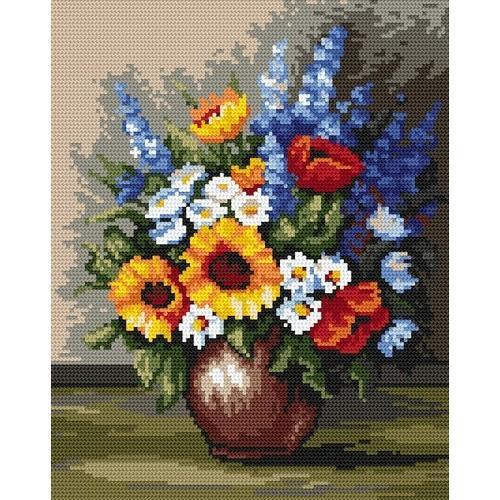 4519 Kanwa z nadrukiem - Polne kwiaty