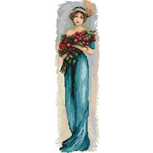 Kanwa z nadrukiem - Kobieta z kwiatami