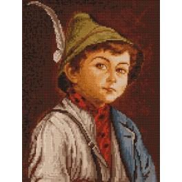 Kanwa z nadrukiem - Chłopiec w tyrolskim kapeluszu