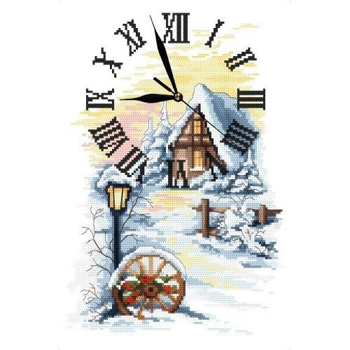 Aida z nadrukiem - Zimowy zegar