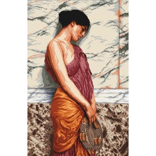 Aida z nadrukiem - Dziewczynka z tamburynem