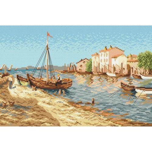 Aida z nadrukiem - Miasteczko rybackie