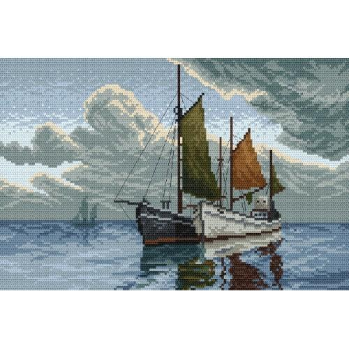 Aida z nadrukiem - Łodzie na morzu