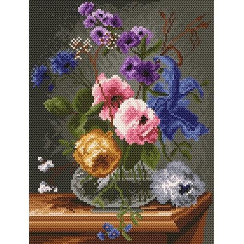 Aida z nadrukiem - Kwiaty w szklanym flakonie