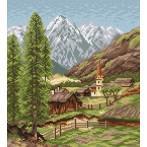 Aida z nadrukiem - Wioska w górach