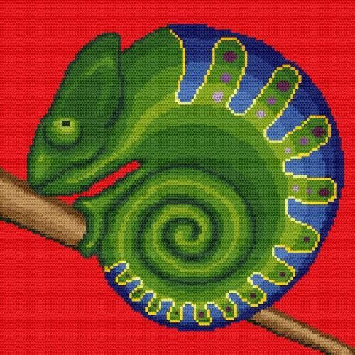 Aida z nadrukiem - Zakręcony kameleon