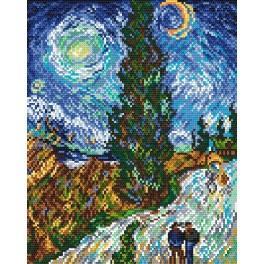 Aida z nadrukiem - Droga z cyprysem i gwiazdą - V. van Gogh