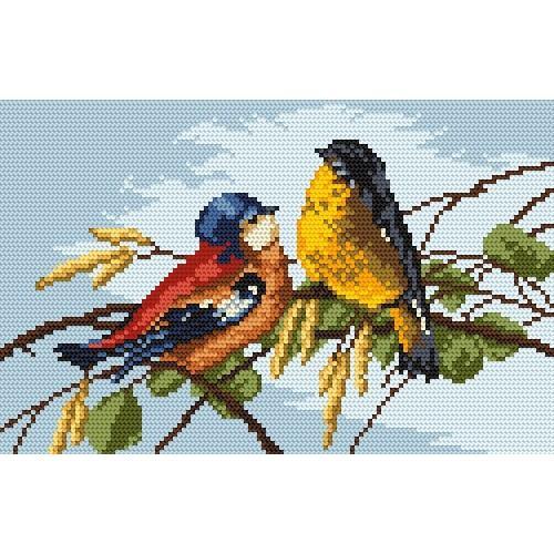 Aida z nadrukiem - Barwne ptaszki
