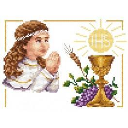 AN 4440 Aida z nadrukiem - I Komunia Św. - dziewczynka