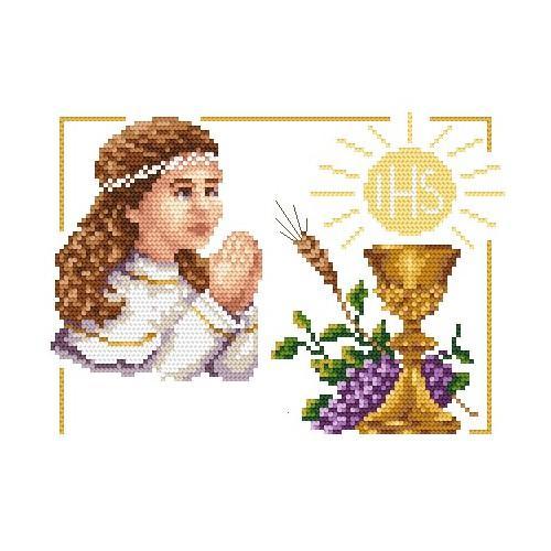 Aida z nadrukiem - I Komunia Św. - dziewczynka