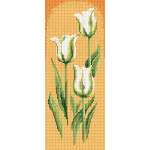 Aida z nadrukiem - Zielone_tulipany