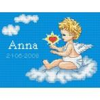 Aida z nadrukiem - Moje narodziny- Aniołek na chmurce