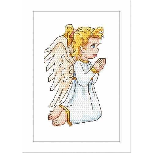 Aida z nadrukiem - Modlący się aniołek