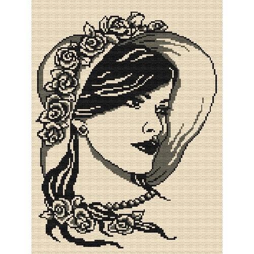 Aida z nadrukiem - Kobieta z perłami