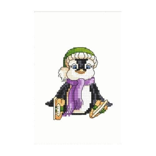 Aida z nadrukiem - Pingwinek na łyżwach