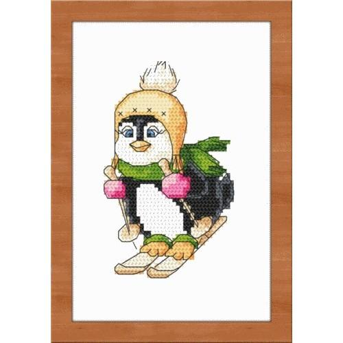 Aida z nadrukiem - Pingwinek na nartach