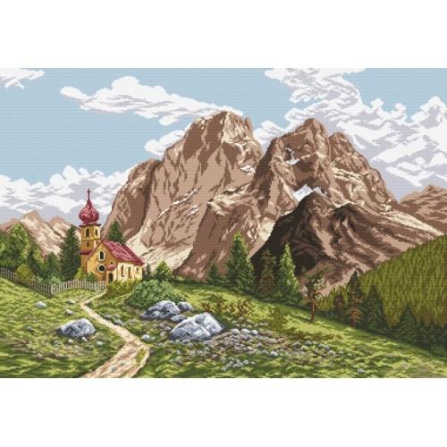 Aida z nadrukiem - Kościół w Alpach