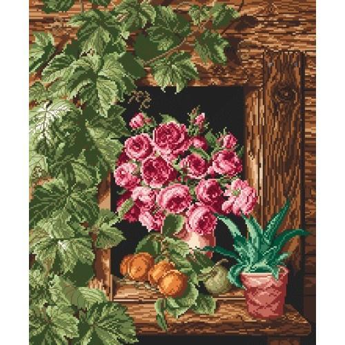 Aida z nadrukiem - Róże w oknie