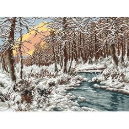 Aida z nadrukiem - Zimowy potok