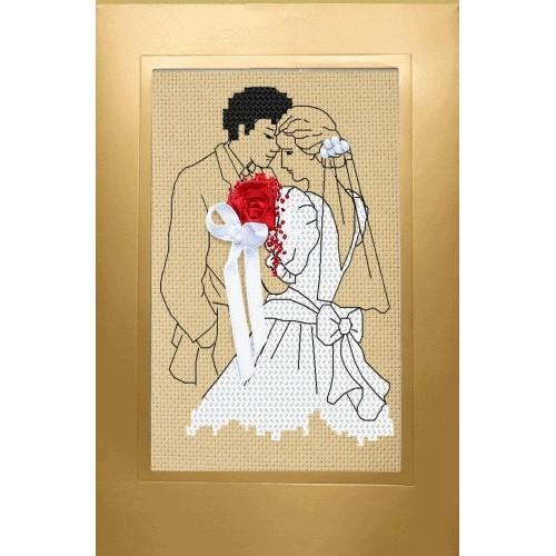 Aida z nadrukiem - Kartka ślubna - Nowożeńcy