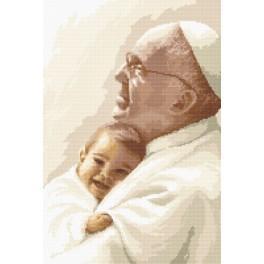 AN 8280 Aida z nadrukiem - Papież Franciszek z dzieckiem