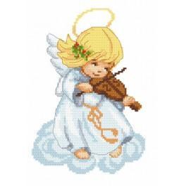 Aida z nadrukiem - Aniołek ze skrzypkami
