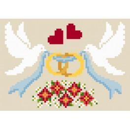 Aida z nadrukiem - Kartka ślubna - Gołąbki z obrączkami