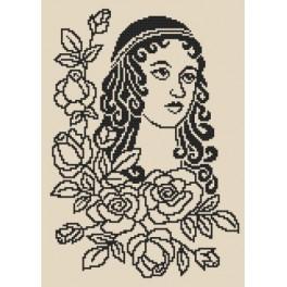 AN 8481 Aida z nadrukiem - Dama z różami