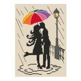 AN 8610 Aida z nadrukiem - Kolorowa parasolka - Zakochani